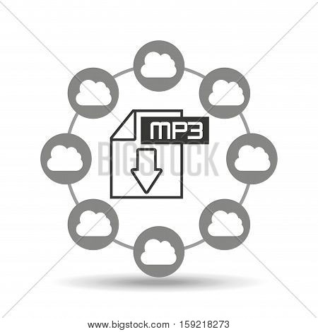 music cloud connection mp3 file graphic vector illustration eps 10