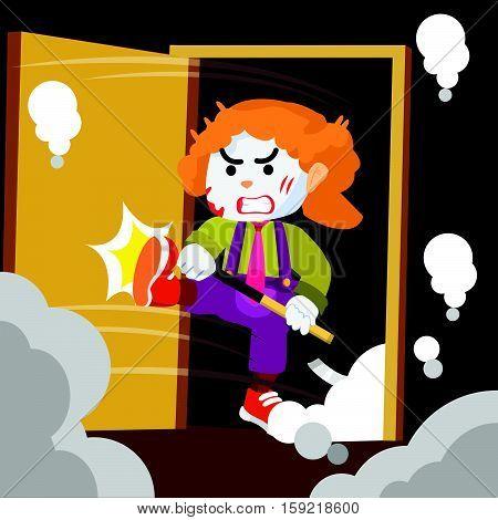 crazy clown smashed door colorful illustration design