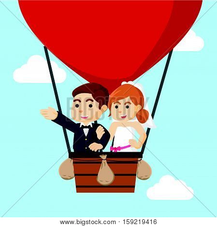 married couple flying with air balloon illustration design