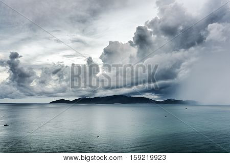 Amazing Seascape With Dramatic Stormy Sky
