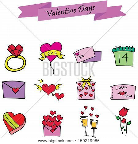 Element valentine day set various collection stock