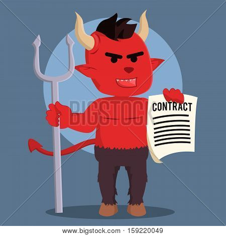 devil holding devil contract eps10 vector illustration design