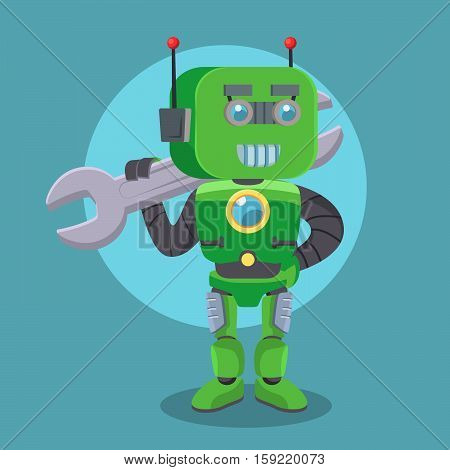 green robot holding wrench eps10 vector illustration design