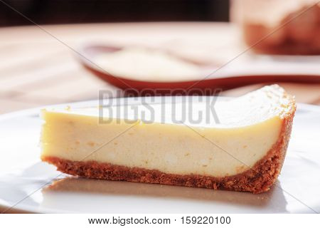Closeup View Of Piece Of Delicious Freshly Baked Cheesecake