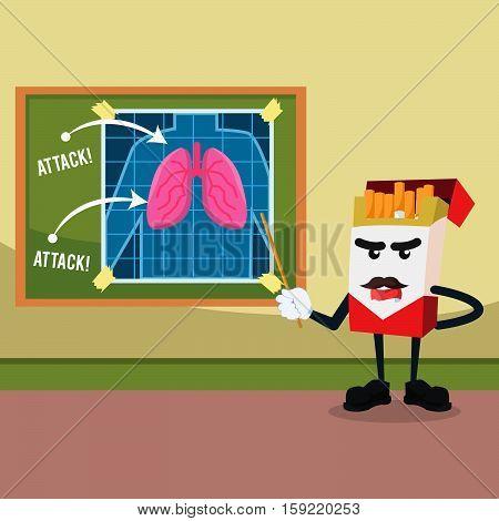 cigarette planning to attack lung illustration design