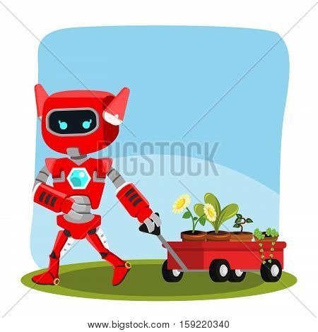 female robot pulling cart full of plant