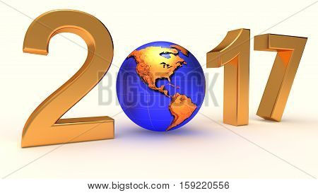 Year 2017 Earth gobe on the white background. 3d illustration.