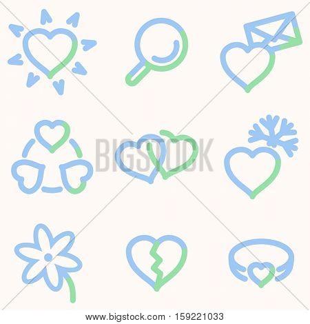 Love icons, light blue contour