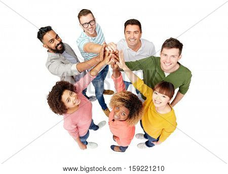 diversity, race, ethnicity, gesture and people concept - international group of happy smiling men and women making high five over white