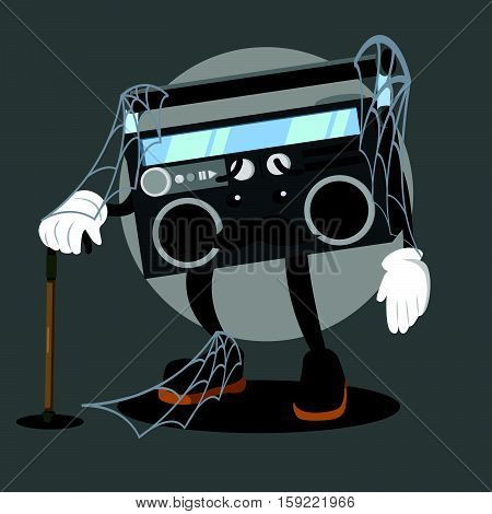 abandoned radio cartoon eps10 vector illustration design