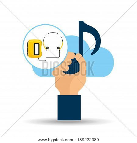 hand hold note music cloud and radio cassette player vector illustration eps 10