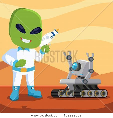 mars rover robot meet alien illustration design