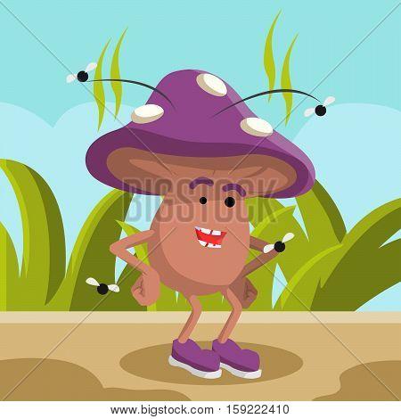 mushroom toadstool cartoon eps10 vector illustration design