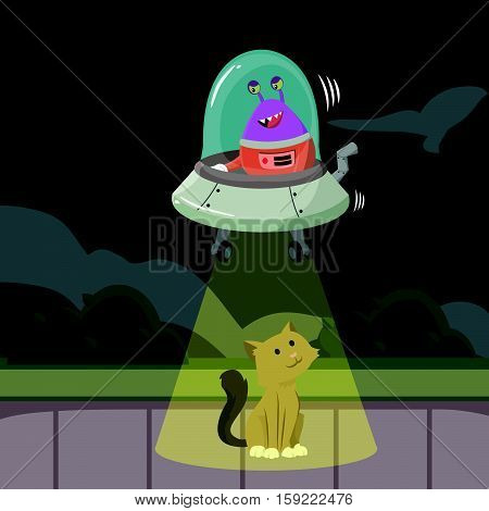cat being kidnaped by alien illustration design