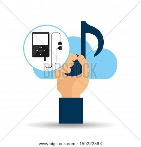 hand hold note music cloud and mp3 vector illustration eps 10