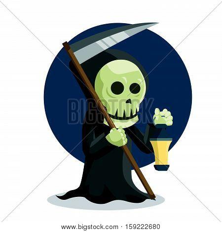 grim reaper holding lamp eps10 vector illustration design