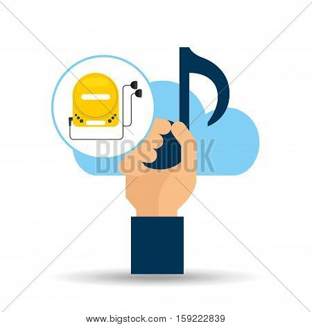 hand hold note music cloud and cd player vector illustration eps 10