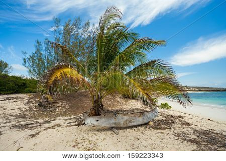 Abadoned Boat In Sandy Beach In Antsiranana Bay Madagascar
