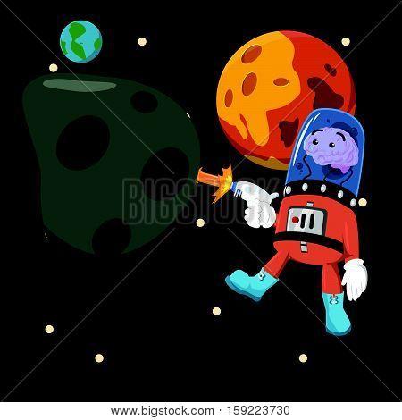 brain alien mining asteroid eps10 vector illustration design