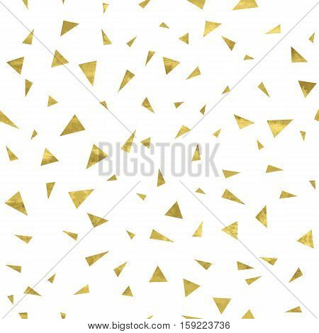 Gold and white seamless pattern with golden triangles. Bright confetti background. Vector illustration. Shiny splash cover. Texture of gold foil. Festive banner.