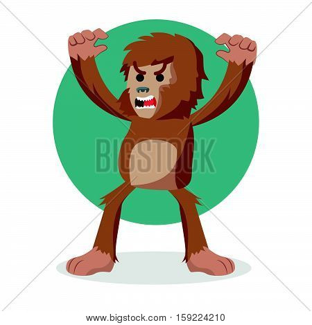 bigfoot angry cartoon eps10 vector illustration design