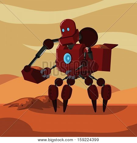 carrier robot picking up sand sample from mars