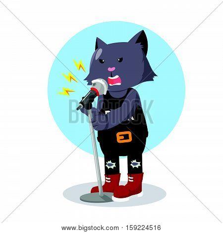 rock star cat singing vector illustration design