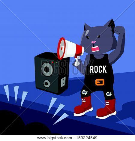 rock star cat concert vector illustration design