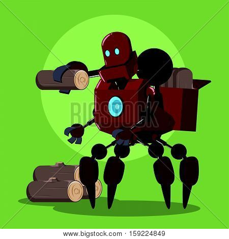 carrier robot carrying lumber vector illustration design