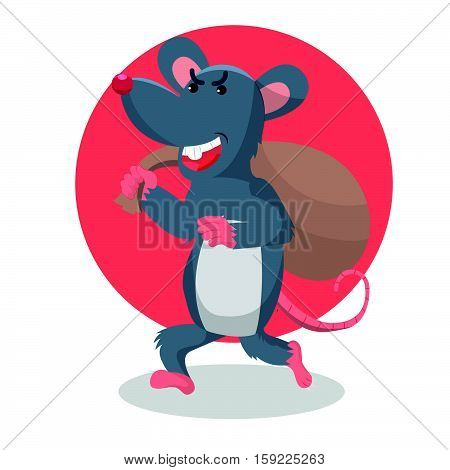 mouse stealing and running vector illustration design
