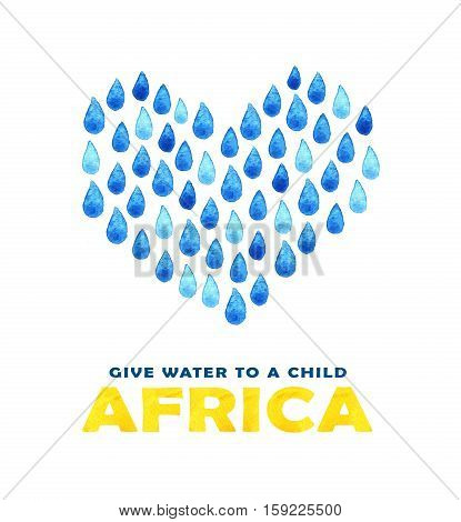 Charity Clean Water Poster. Social Illustration About Problems Africa. Giving Donations For African
