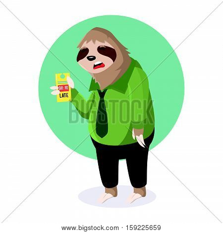 sloth office sleepy with absent late vector illustration design