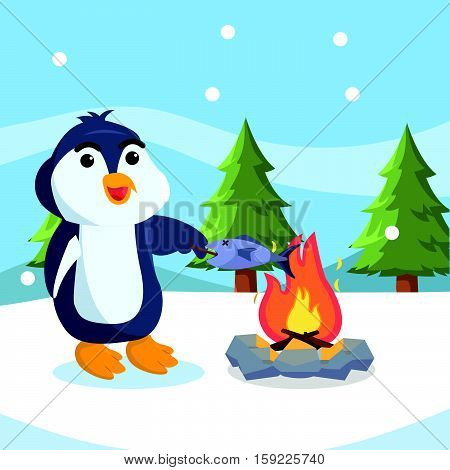 pengeuin cooking fish on fire vector illustration design