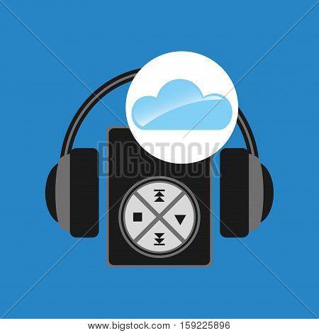 cloud music concept mp3 headphones vector illustration eps 10