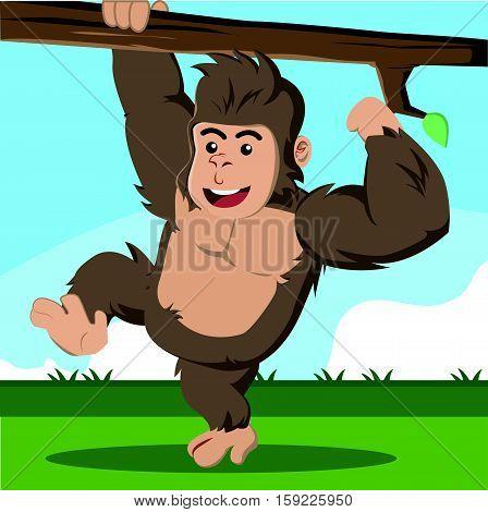 gorilla climbing branch eps10 vector illustration design