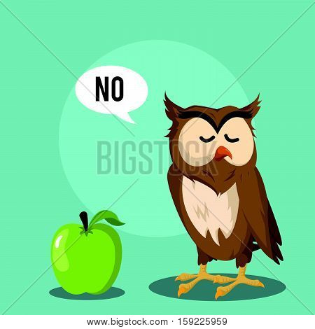 owl dislike fruit eps10 vector illustration design