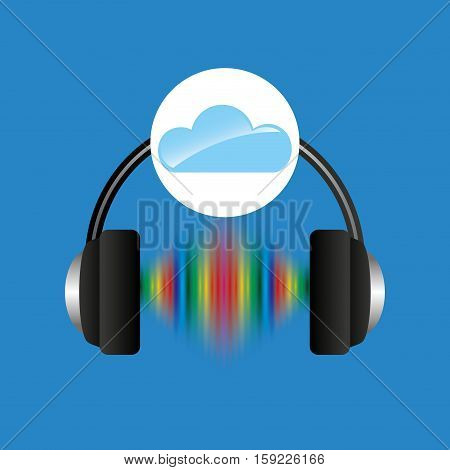 cloud music concept headphones frequency vector illustration eps 10