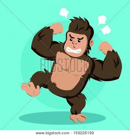 angry gorilla cartoon eps10 vector illustration design