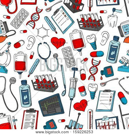 Medical tools and medicine pattern. Vector seamless background of medical items, doctor, pills, drugs, lungs, microscope, heart, blood and dna, x-ray, ointment and dropper, lungs, heart organ and drops, syringe and thermometer, stethoscope and dropper