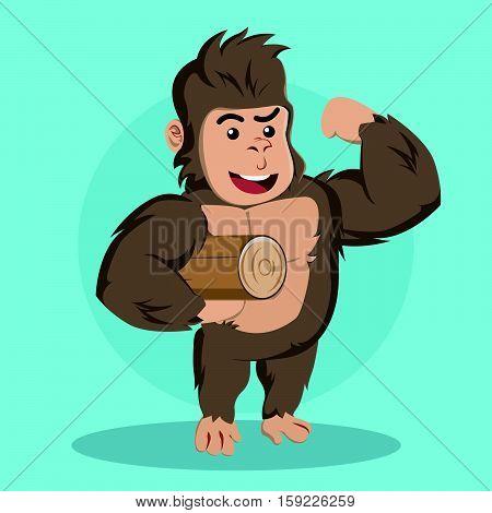 gorilla carrying log eps10 vector illustration design