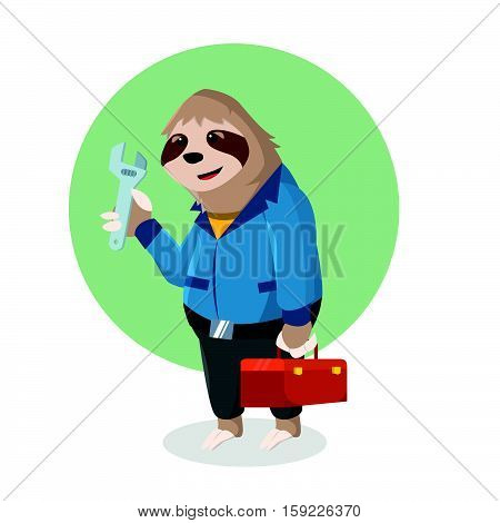 sloth handyman holding tool box vector illustration design