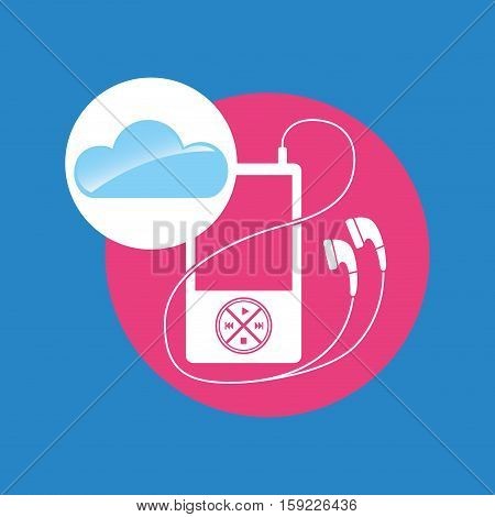 cloud music concept mp3 pink background vector illustration eps 10