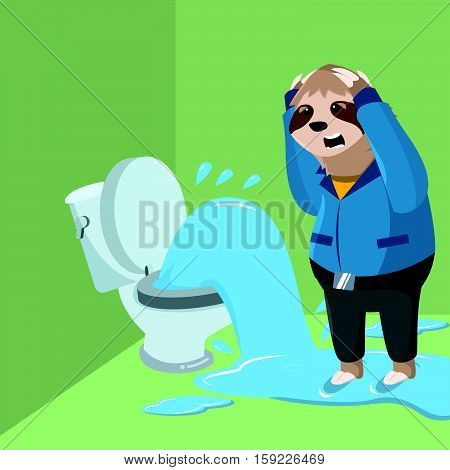sloth handy fail repair toilet vector illustration design