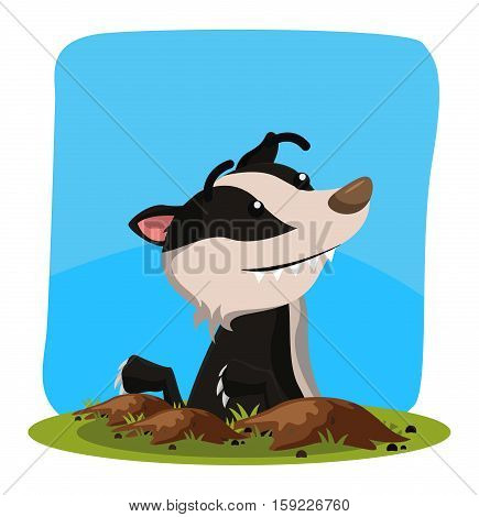 honey badger out from hole vector illustration design