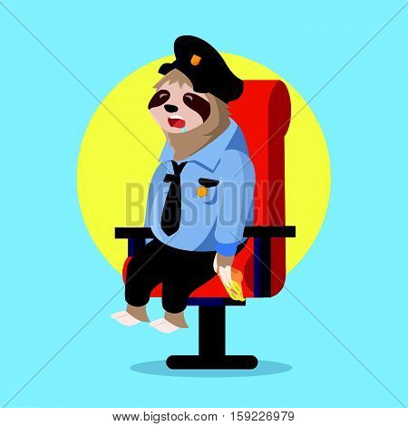 sloth police sleeping when guarding vector illustration design