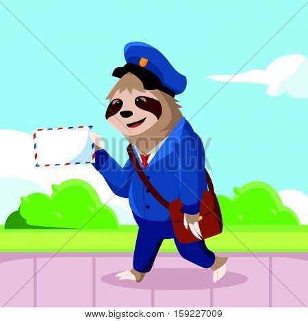 sloth walking with hold mail vector illustration design