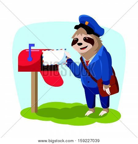 sloth delivering mail eps10 vector illustration design