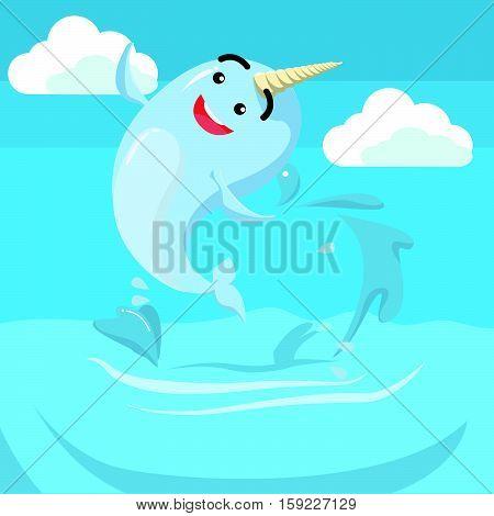 narwhal jumping cartoon eps10 vector illustration design