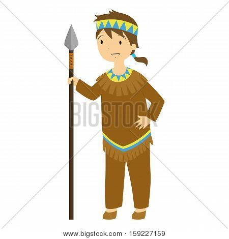 A Native boy standing and holding a hunting spear.