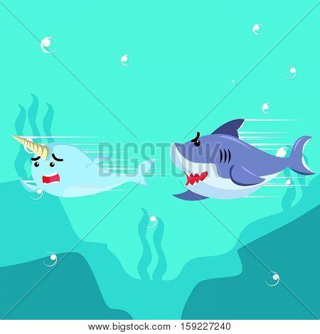 narwhal chased by shark eps10 vector illustration design